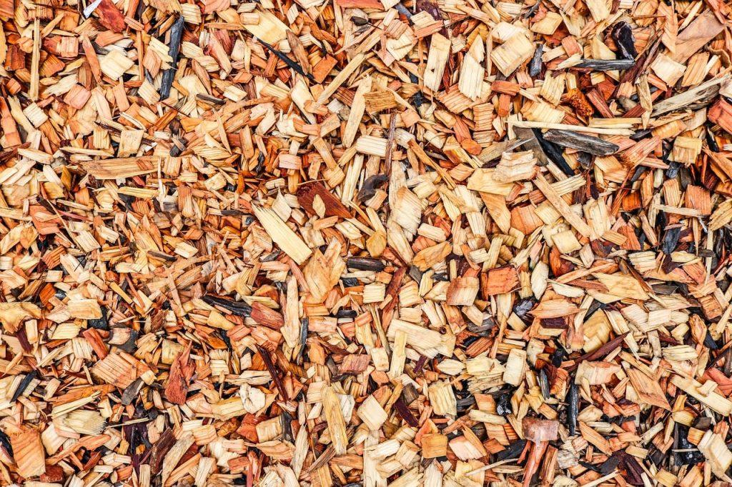 wood chips in low maintenance garden